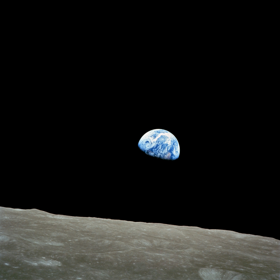 The Apollo 8 mission's impressive list of firsts includes: the first humans to journey to the Earth's Moon, the first to fly using the Saturn V rocket, and the first to photograph the Earth from deep space. As the Apollo 8 command module rounded the far side of the Moon on Dec. 24, the crew could look toward the lunar horizon and see the Earth appear to rise, due to their spacecraft's orbital motion.