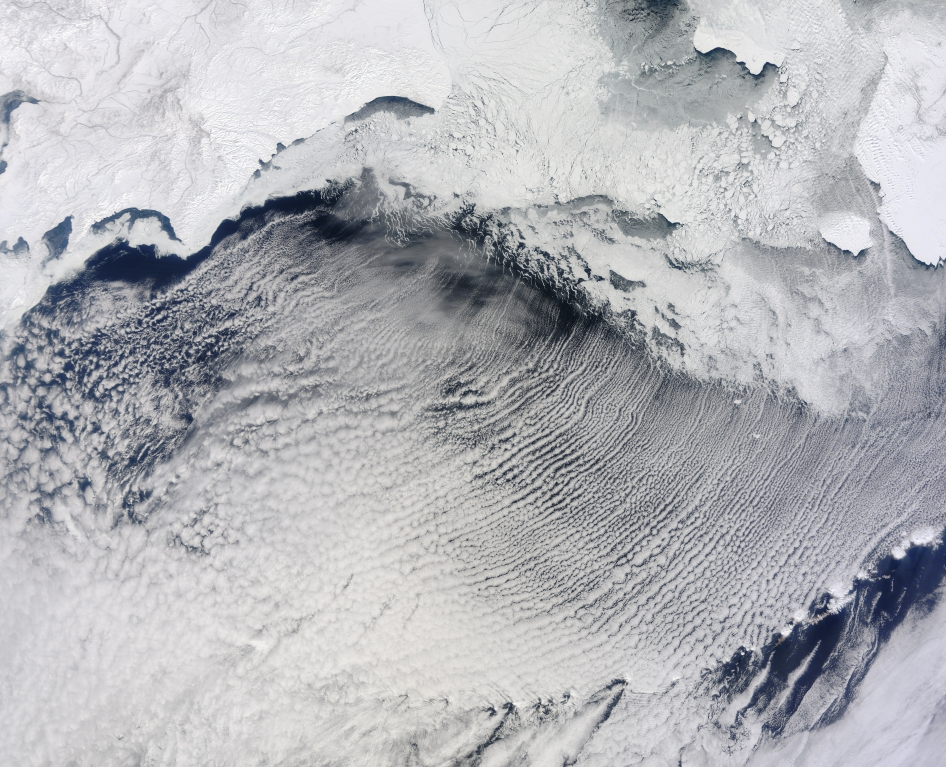 The Moderate Resolution Imaging Spectroradiometer (MODIS) on NASA's Terra satellite captured this natural-color image of clouds stretched in parallel rows over the Bering Sea on April 7, 2013. Image Credit: NASA GSFC