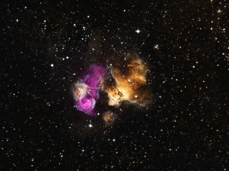 This hardy star is in a stellar explosion's debris field − also called its supernova remnant − located in an HII region called DEM L241.
