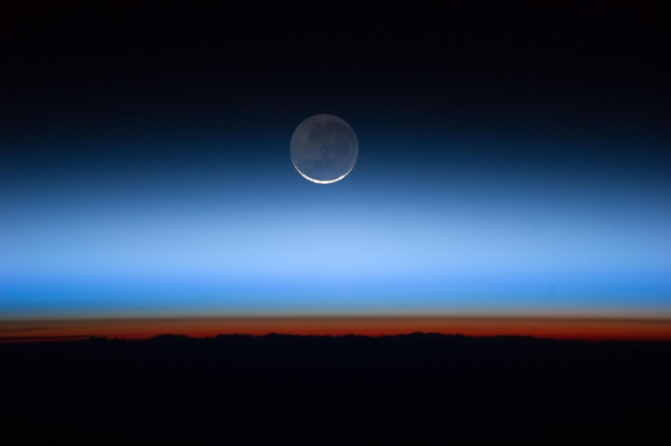 International Space Station astronauts captured this photo of Earth's atmospheric layers on July 31, 2011, revealing the troposphere (orange-red), stratosphere and above.
