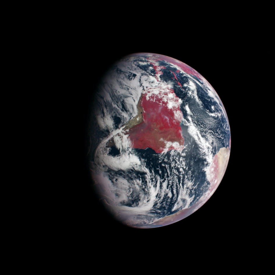 South America and portions of North America and Africa are shown in this false-color image from NASA's MESSENGER spacecraft, taken on an Aug. 2, 2005 Earth flyby to adjust the spacecraft's path to Mercury.