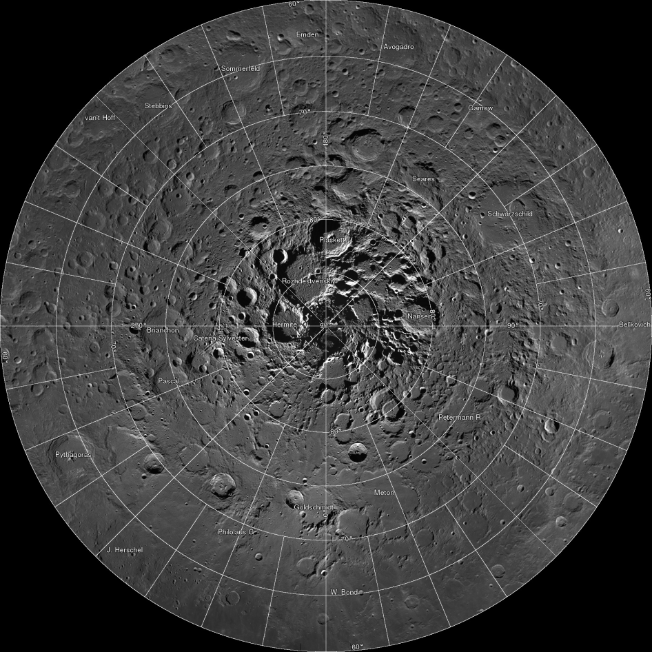 Scientists, using cameras aboard NASA's Lunar Reconnaissance Orbiter (LRO), have created the largest high resolution mosaic of our moon's north polar region. The six-and-a-half feet (two-meters)-per-pixel images cover an area equal to more than one-quarter of the United States.