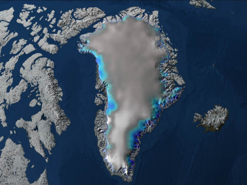 This image of Greenland shows the changes in elevation over the Greenland ice sheet between 2003 and 2006.