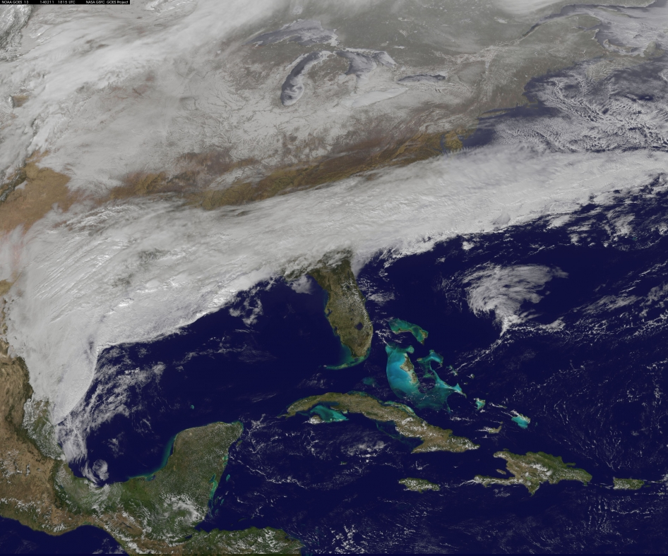 GOES image of snow in the Southern U.S.