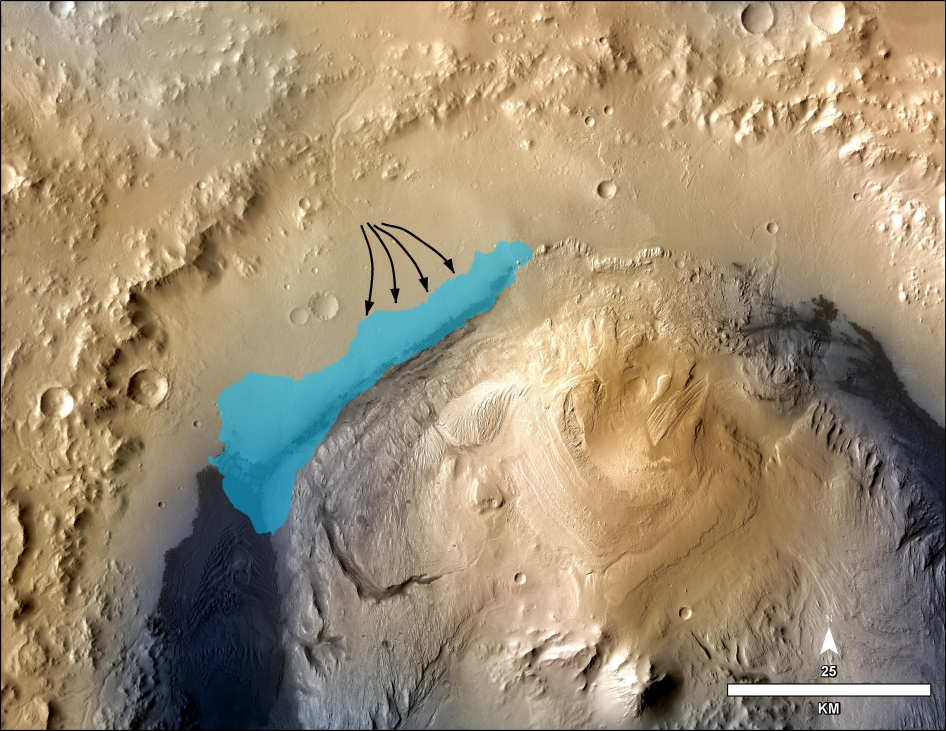 This illustration depicts a concept for the possible extent of an ancient lake inside Gale Crater