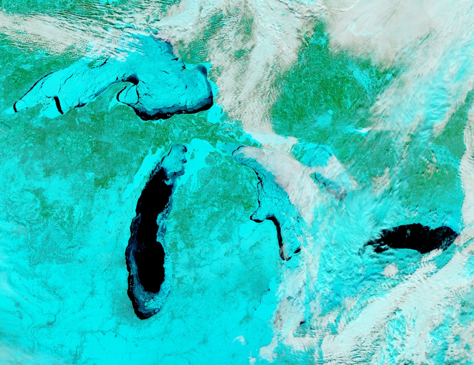 On Feb. 19, 2014 the Moderate Resolution Imaging Spectroradiometer (MODIS) aboard NASA's Aqua satellite flew over the Great Lakes and captured this striking false-colored image of the heavily frozen Great Lakes – one of the hardest freeze-ups in four decades.