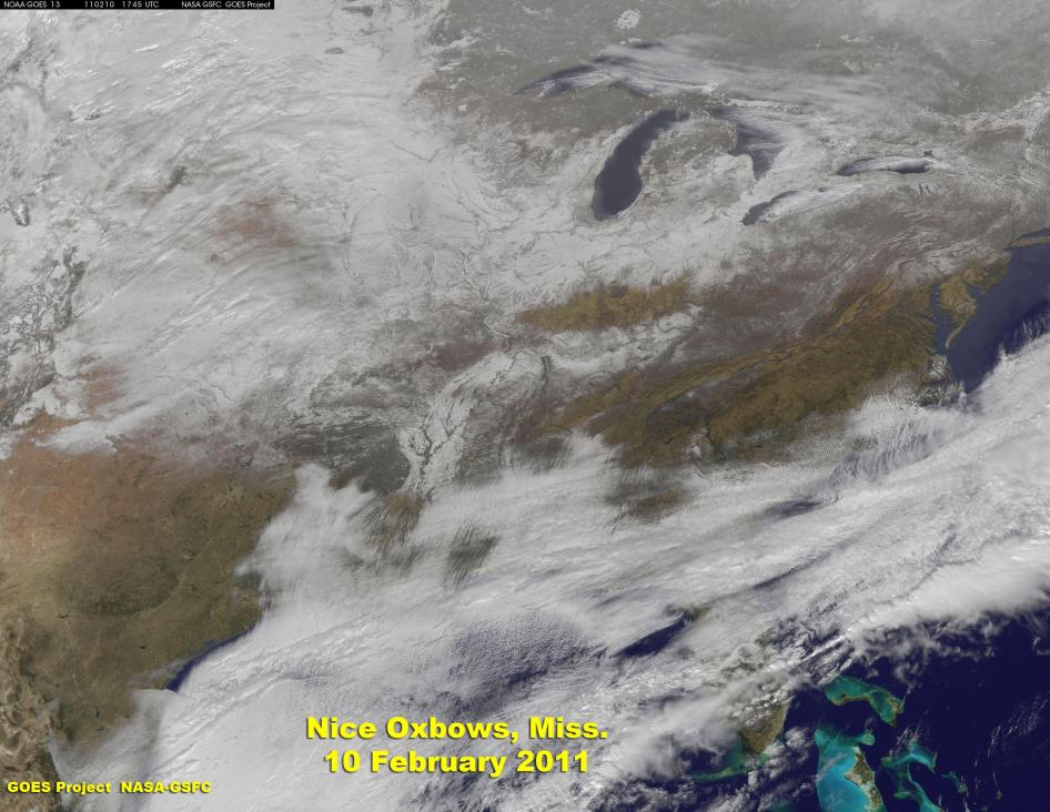 GOES-13 Satellite Captures Record-Setting Arkansas Snow Storm, Shows River Oxbows