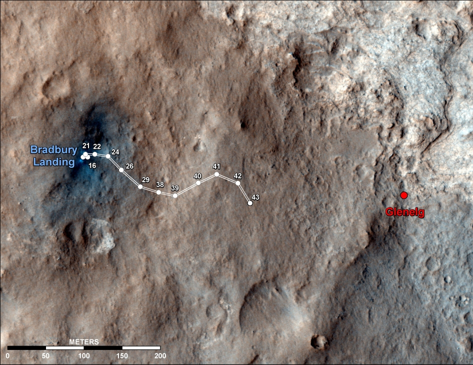 Curiosity Traverse Map Through Sol 43