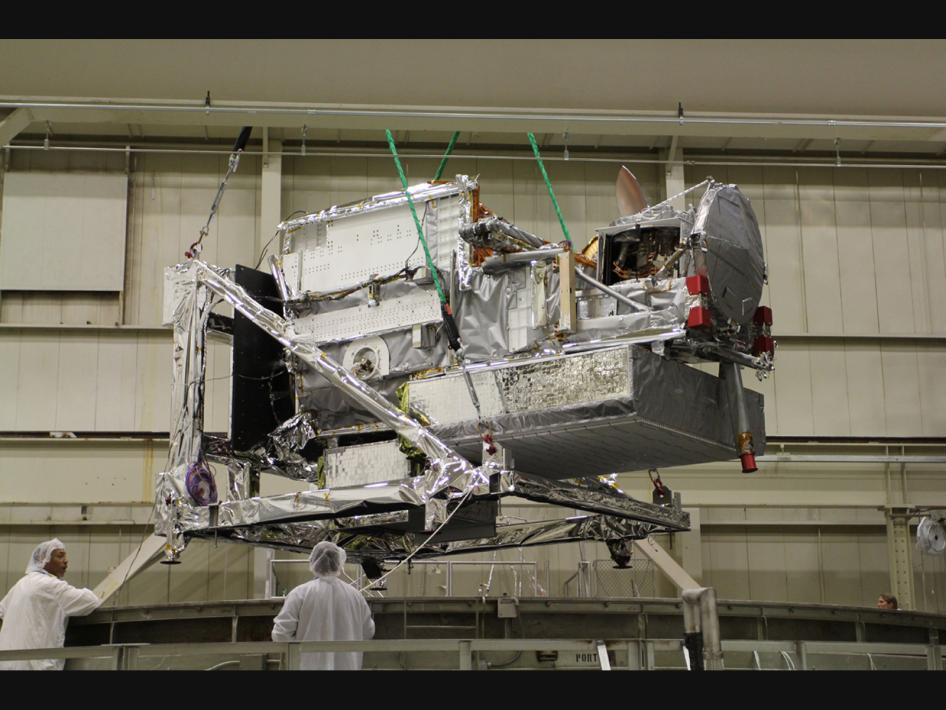 GPM Core Observatory Entering Thermal Vacuum Chamber