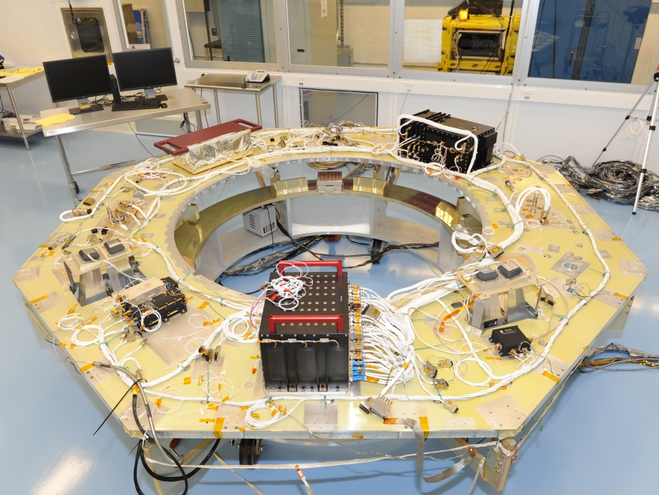 MMS Spacecraft Deck with Flight Components
