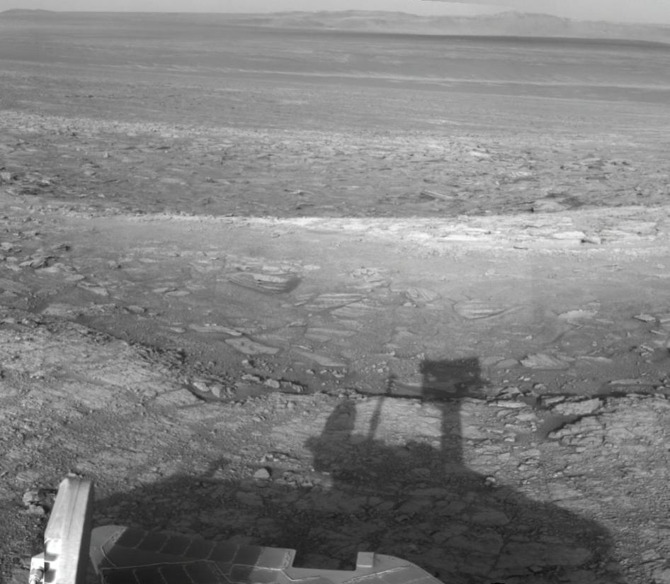 Opportunity's Shadow and Endeavour Crater Vista