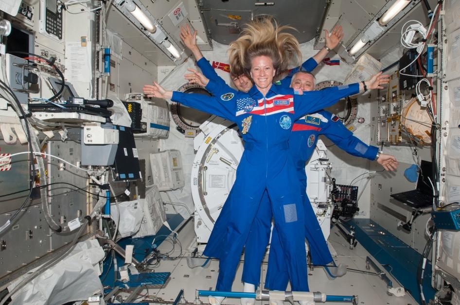 NASA photo: Astronaut Karen Nyberg With Cosmonaut Fyodor Yurchikhin and Astronaut Luca Parmitano