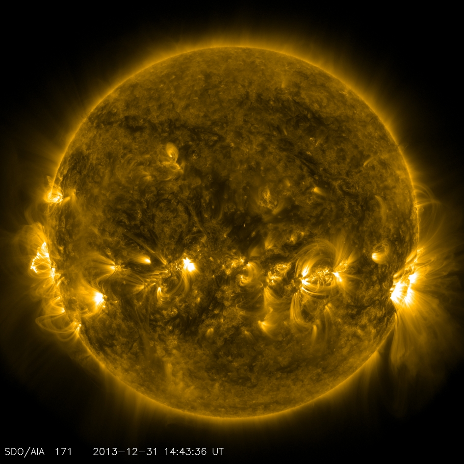This image taken by SDO's AIA instrument at 171 Angstrom shows the current conditions of the quiet corona and upper transition region of the Sun.
