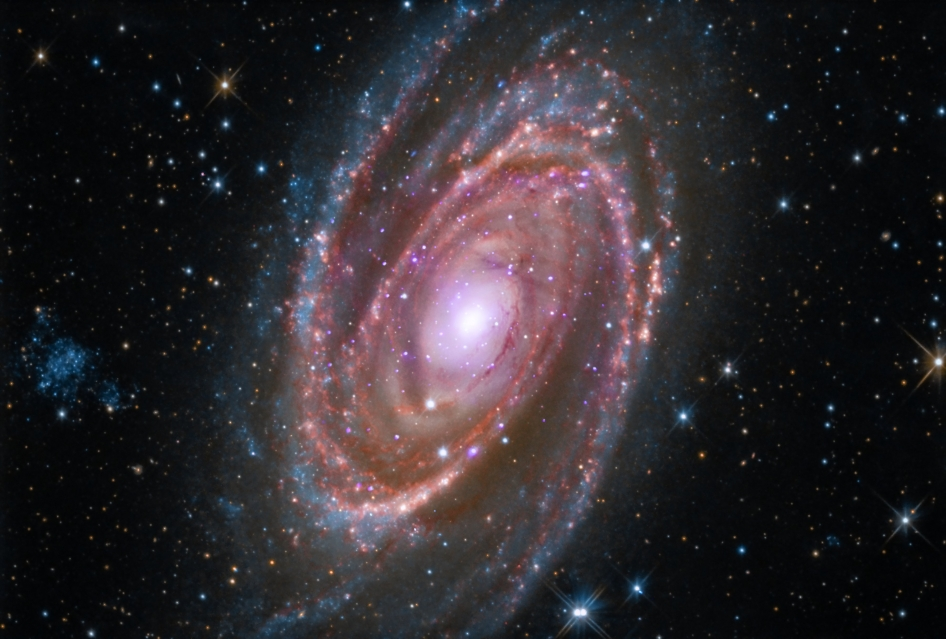 M81 is a spiral galaxy about 12 million light years away