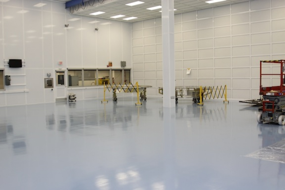 Spacecraft hardware is visible in this image of the newly completed MMS cleanroom.