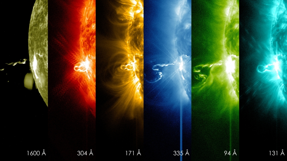 On Feb. 24, 2014, the sun emitted a significant solar flare, peaking at 7:49 p.m. EST. These Solar Dynamics Observatory images from 7:25 p.m. EST on Feb. 24 show the first moments of this X-class flare in different wavelengths of light.