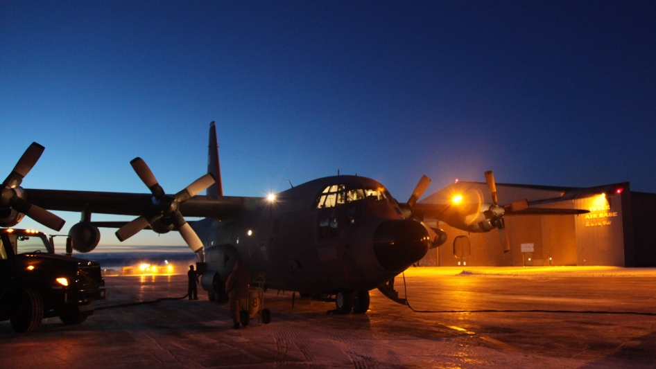 C-130 goes through morning preparations prior to a day of science flights.