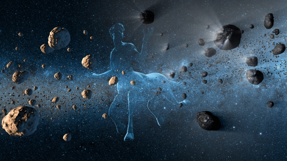 This artist's concept shows a Centaur creature together with asteroids on the left and comets at right.