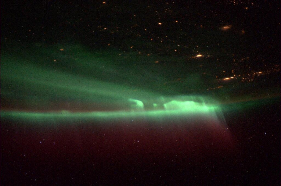 "Astronaut Mike Hopkins, aboard the International Space Station, shared this picture of the northern lights on October 9, 2013 saying ""The pic doesn't do the northern lights justice. Covered the whole sky. Truly amazing!"""