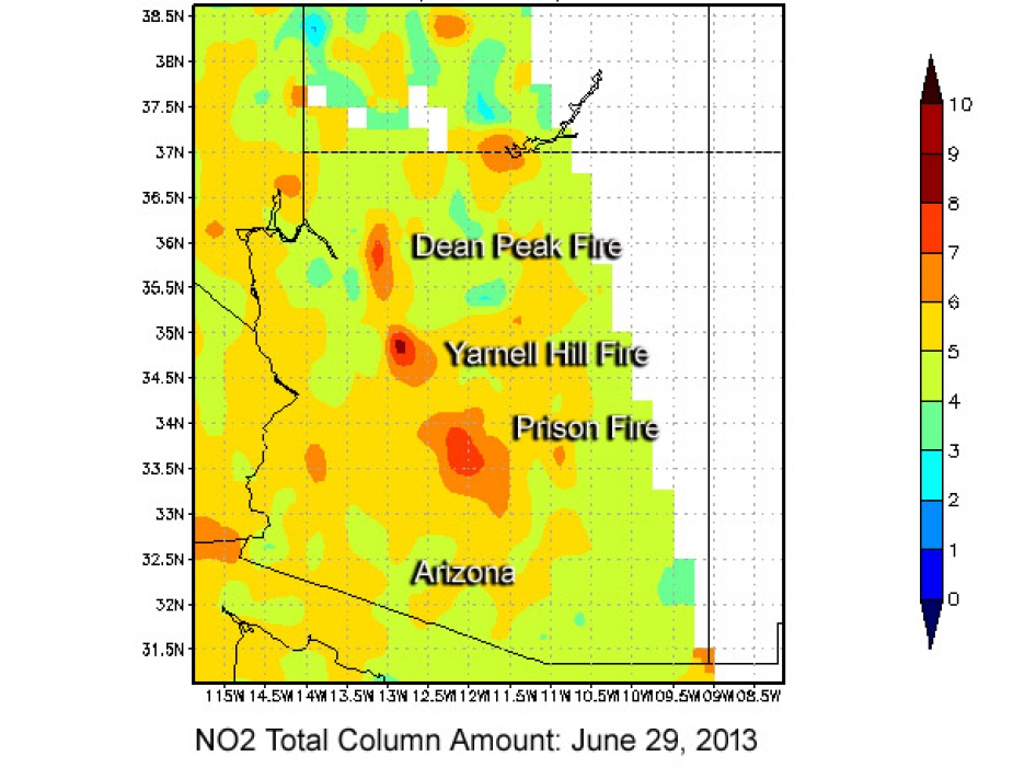 High Levels of Nitrogen Dioxide from Arizona's Yarnell Hill Fire