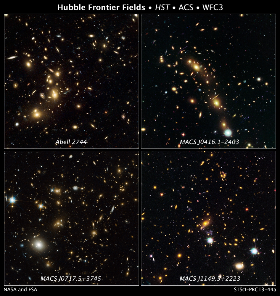 NASA Hubble Space Telescope natural-color images of four target  galaxy clusters that are part of an ambitious new observing program called The  Frontier Fields.