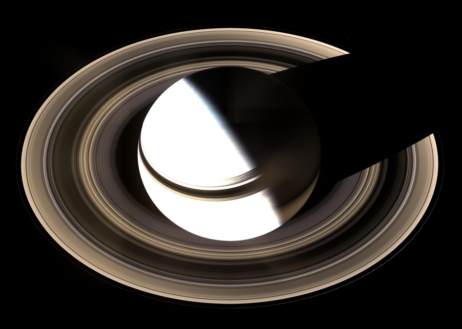 "On Jan. 19, 2007, the Cassini spacecraft took this view of Saturn and its rings -- the visible documentation of a technique called a ""pi transfer"" completed with a Titan flyby."