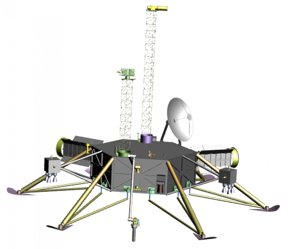 This graphic shows a possible robotic lander for a future mission to Jupiter's moon Europa