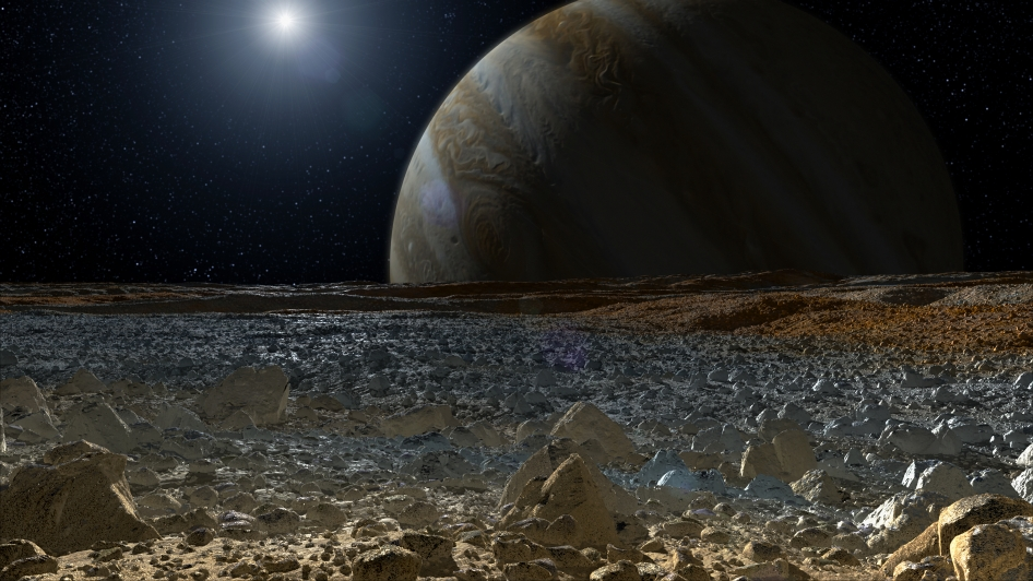 Simulated view from Europa's surface (artist's concept)