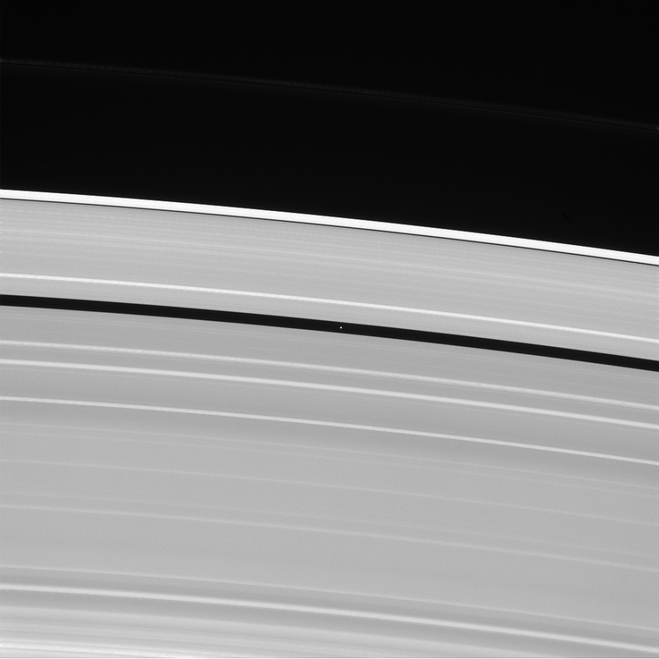 Rings of Saturn and the moon Pan