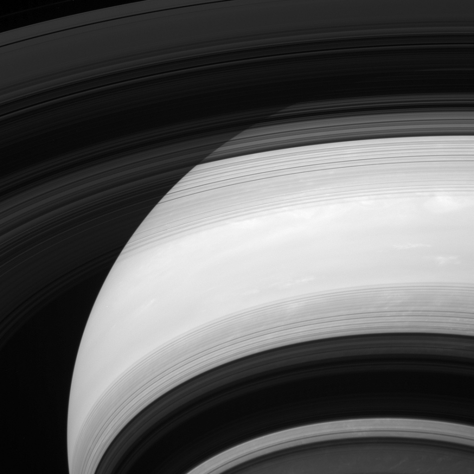 This view of Saturn looks toward the unilluminated side of the rings from about 28 degrees below the ringplane.