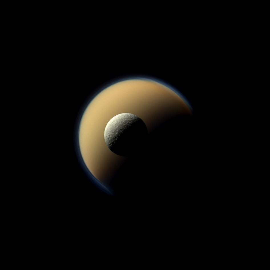 Saturn's largest and second largest moons, Titan and Rhea