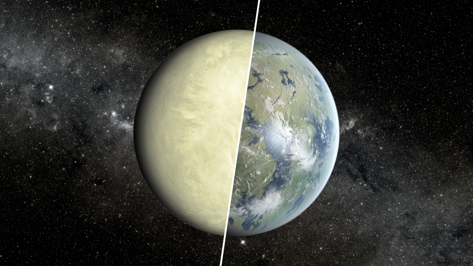 This artist's concept shows a Super Venus planet on the left, and a Super Earth on the right