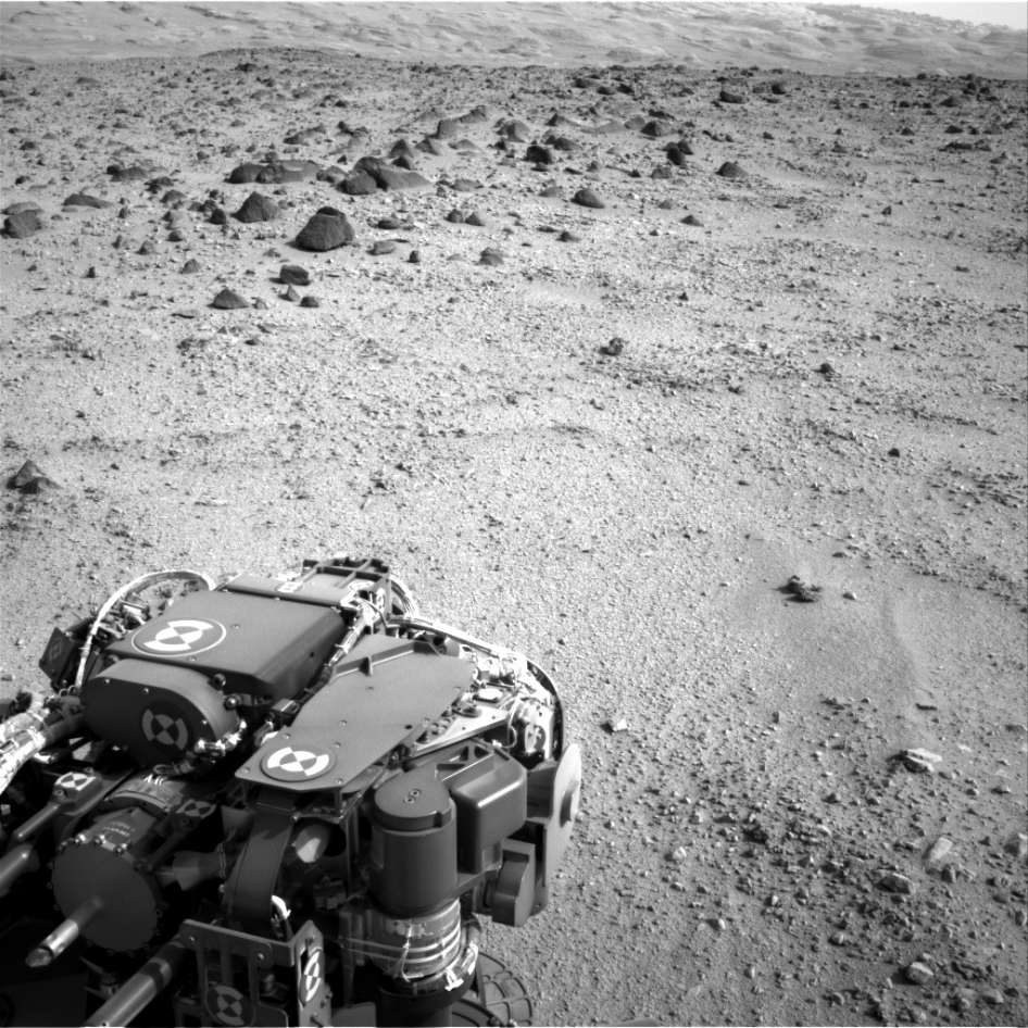 Lower slopes of Mount Sharp appear at the top of this image