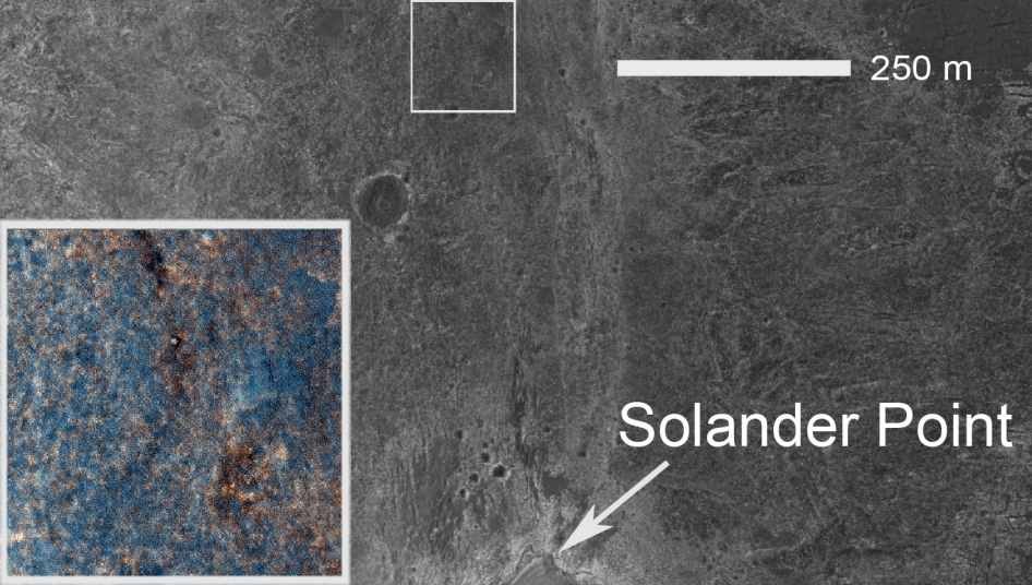 Location of the rover-containing section of new color image in relation to Solander Point