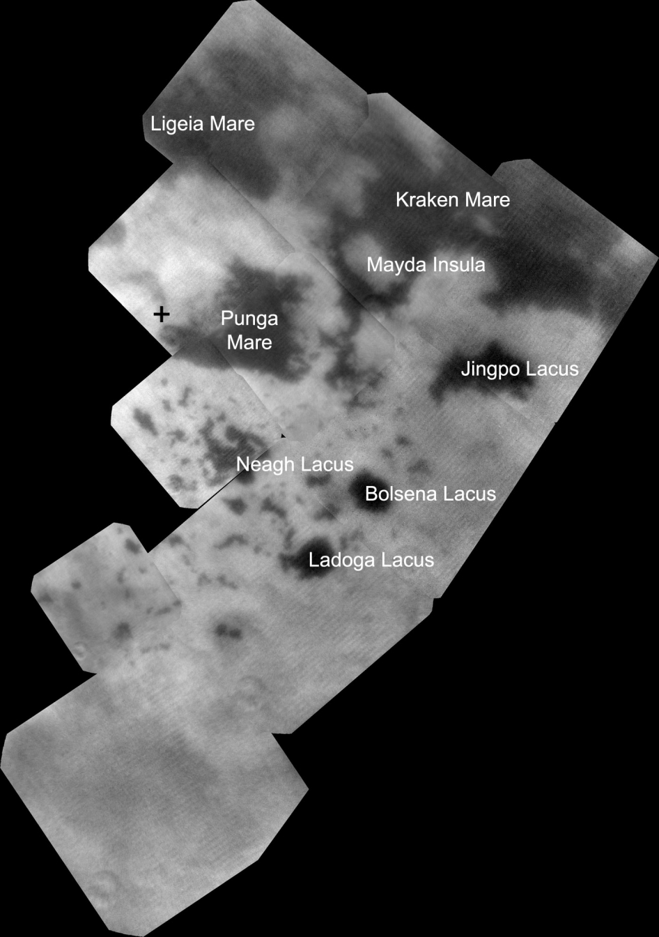 Hydrocarbon seas and lakes (dark shapes) near the north pole of Saturn's moon Titan