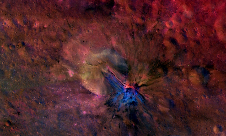 Flow of material inside and outside a crater called Aelia on the giant asteroid Vesta