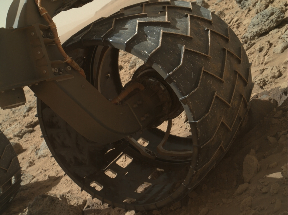 Left-front wheel of Curiosity rover