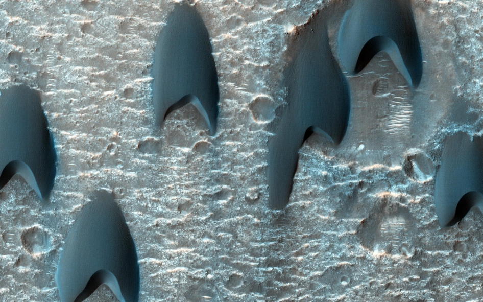 In this image of a dune field on Mars in a large crater near Mawrth Vallis, some of the dunes appear to be in a V-shaped formation.