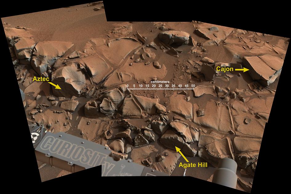 Geologický průzkum Marsu pokračuje, Curiosity je u Alexander Hills