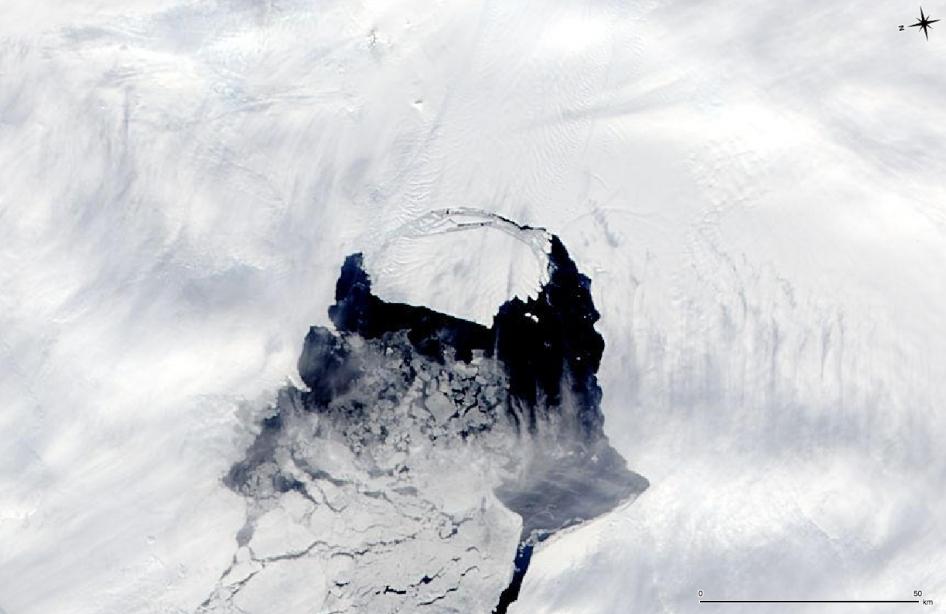 Isbjerg fotograferet fra rummet med NASA's MODIS satellit