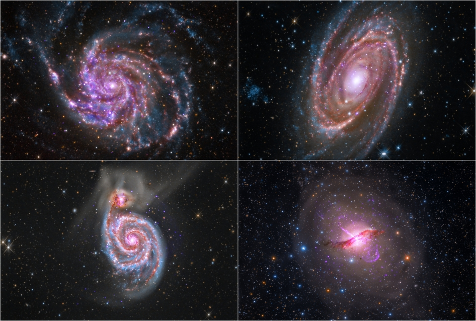 Images in this quartet of galaxies represent a sample of composites created with X-ray data from NASA's Chandra X-ray Observatory, infrared data from the Spitzer Space Telescope, and optical data collected by an amateur astronomer.