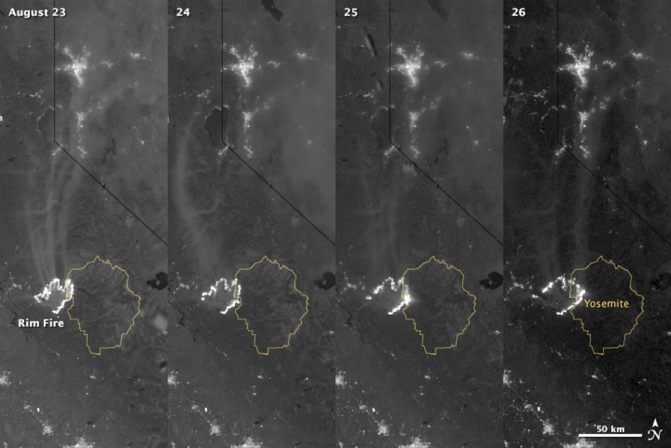 VIIRS image of the Rim Fire in California