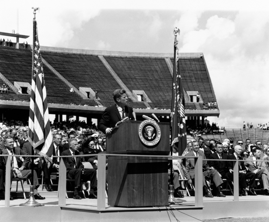 "President Kennedy tells a crowd of 35,000 at Rice Stadium, Houston, Texas, ""We intend to become the world's leading spacefaring nation."""