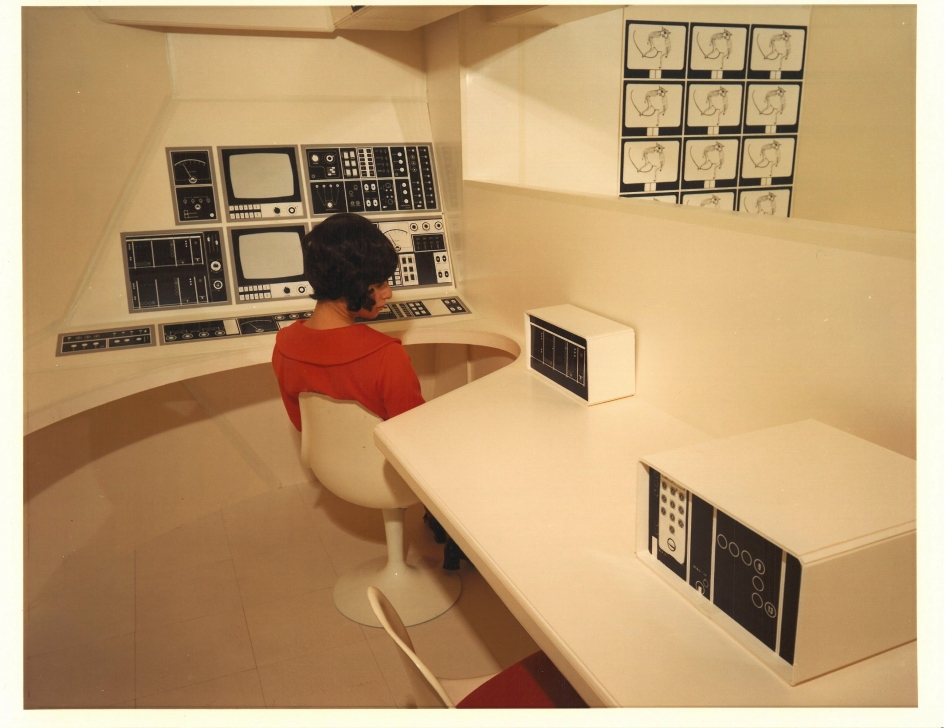 A full-scale mock-up of a concept for an artificial-G, shuttle-compatible space station interior designed by Raymond Loewy/William Snaith, Inc., for a habitability working group at NASA's Marshall Space Flight Center.