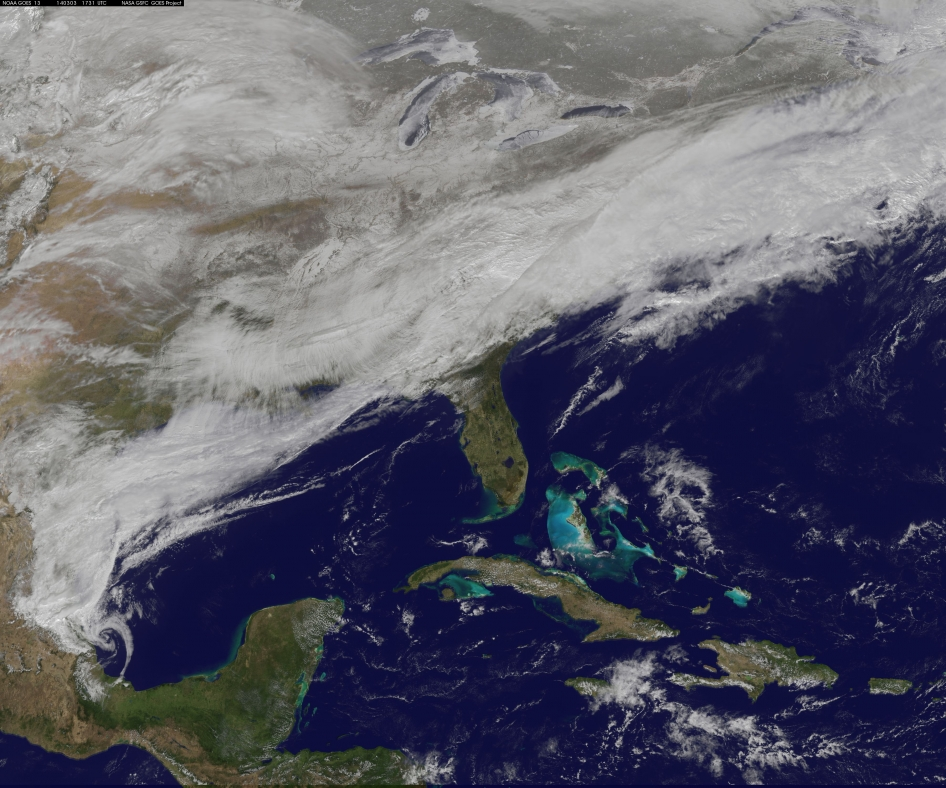 satellite image of storm over eastern United States