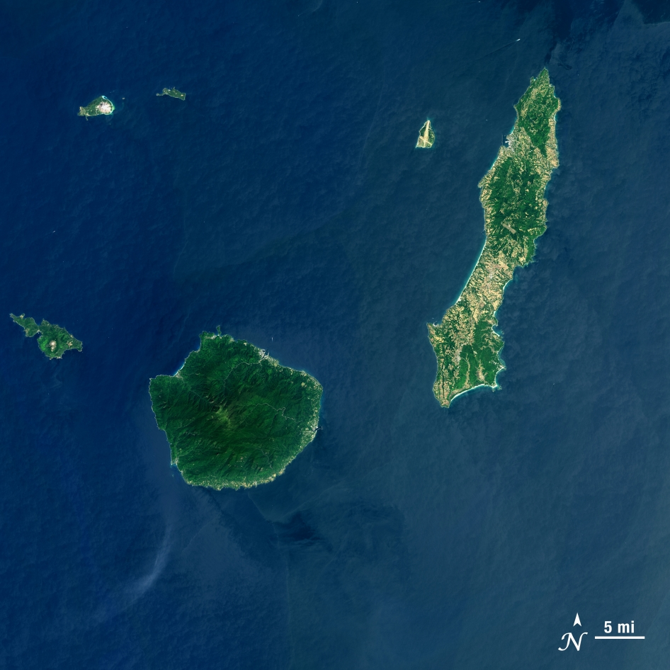 Landsat 8 image of Tanegashima (right) and other southern Japanese islands