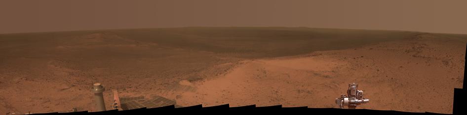 Udsigt over det 22km store Endeavour krater fra mars-roveren opportunity
