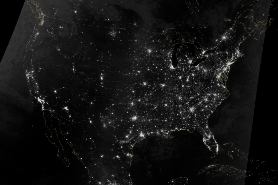 This natural-light, mosaic view of the continental United States is from two nighttime images acquired early on Oct. 1, 2013, by the Visible Infrared Imaging Radiometer Suite (VIIRS) on the Suomi NPP satellite.