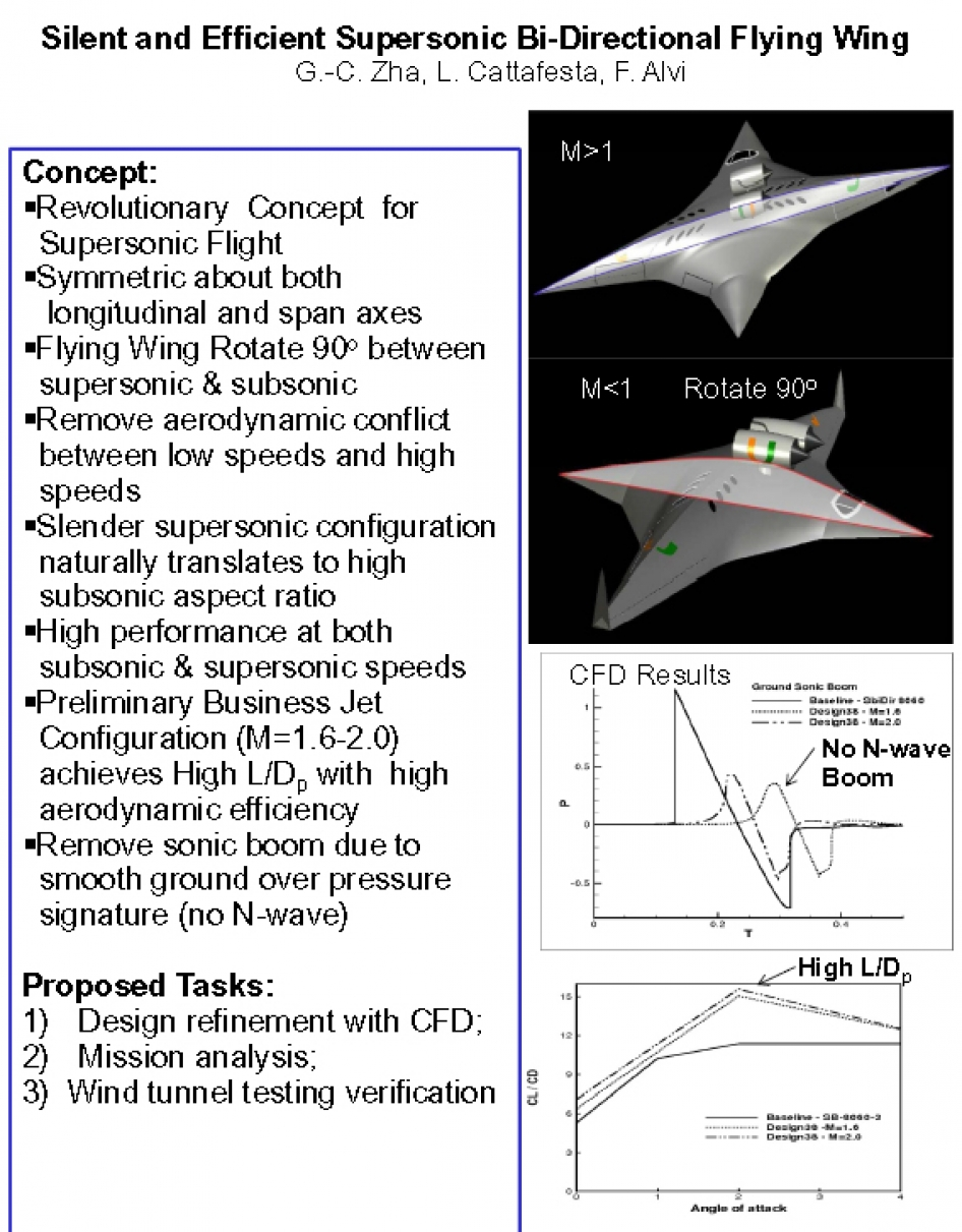 Silent and Efficient Supersonic Bi-Directional Flying Wing