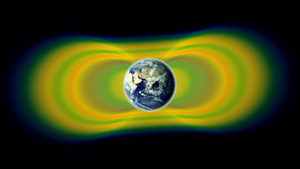 Two giant swaths of radiation, known as the Van Allen Belts, surrounding Earth were discovered in 1958. In 2012, observations from the Van Allen Probes showed that a third belt can sometimes appear. The radiation is shown here in yellow, with green representing the spaces between the belts.